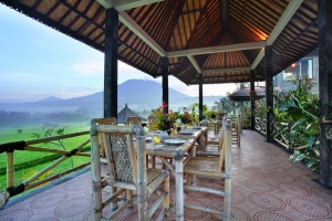 Our restaurant offers stunning views of Mt Agung